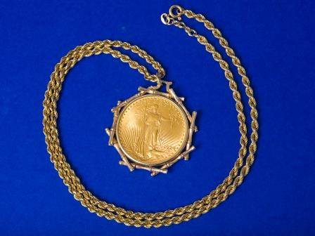 U.S. $20 Gold Coin as Pendant