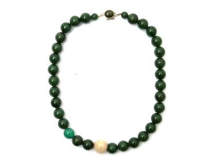 Cabbage Jade Bead Necklace