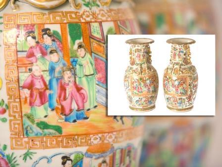 Pair of Cantonese Vases
