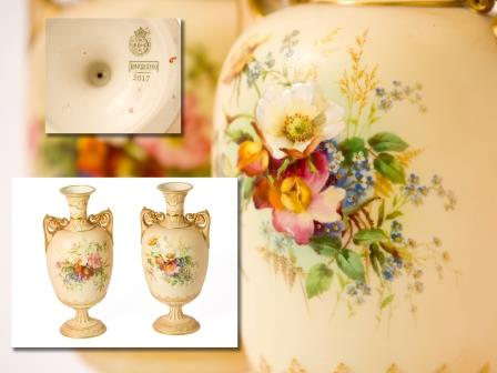 Pair of Royal Worcester Blush Vases