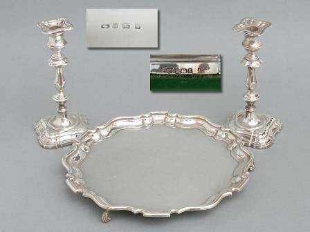 Silver Salver and Pair of Candlesticks (3 Pieces) (1)