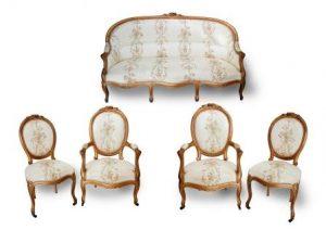 A Louis XVI Style Giltwood Salon Suite.