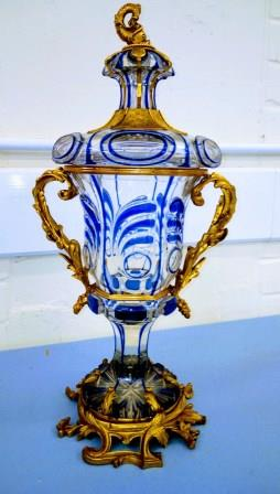 A Late 19th Century French Glass Vase and Cover.