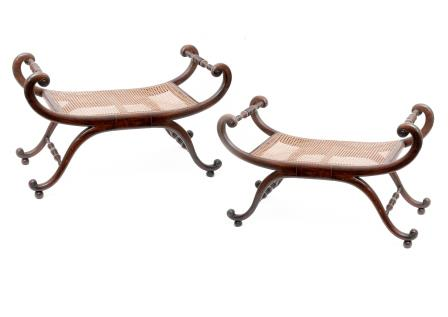 Pair of Cane Seated Duet Stools.