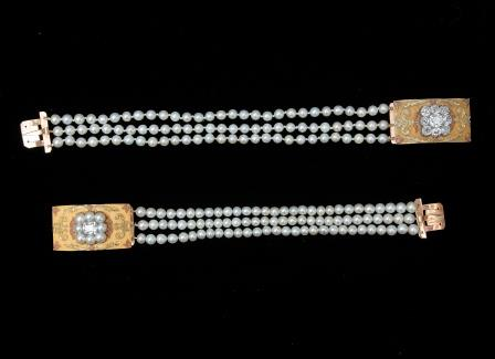 A Three Row Pearl Bracelet.