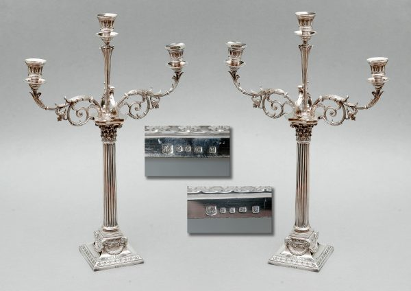 A Pair of Silver Plated Candleabra.
