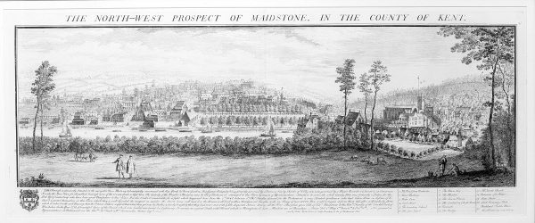 Engraving, North West Prospect of Maidstone.