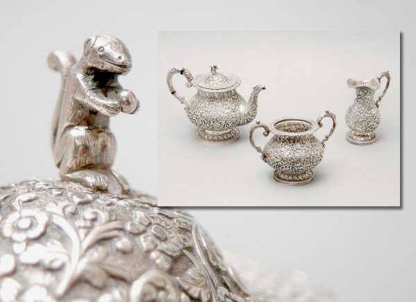 An Indian White Metal Tea - Set.