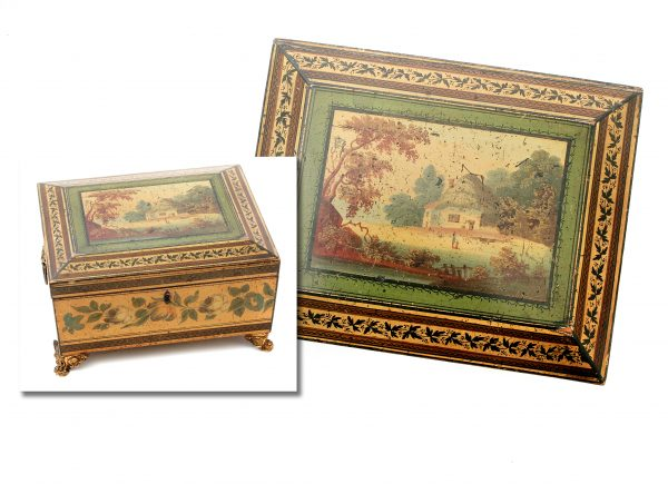 A Regency Painted Workbox.
