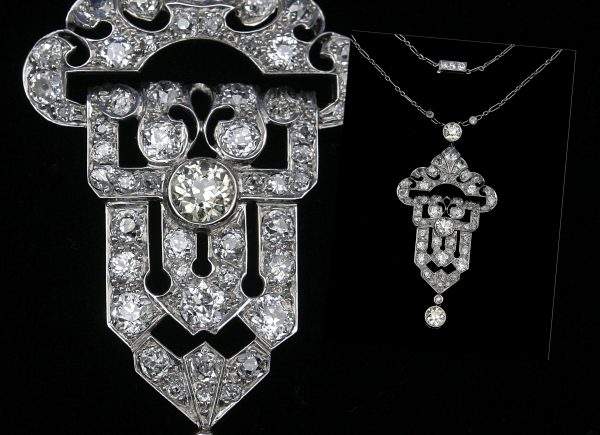 An Art Deco Style Diamond Pendant/Brooch.
