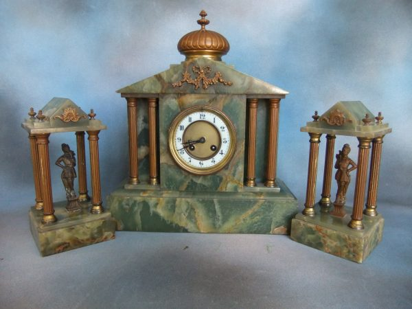 19th Century Onyx Clock Garniture.